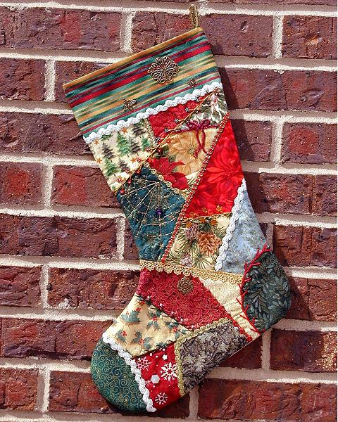 crazy quilt christmas stocking - Quilted Christmas Stockings